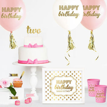 TWO Cake Topper - 2nd Birthday Cake Topper - Second Birthday Cake Topper - Pink and Gold Birthday Cake Topper - Twinkle Little Star