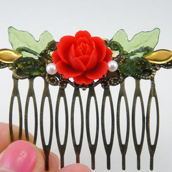 Red English Rose Rhinestone Collage Comb - OOAK Victorian Style Flower Collage Hair Comb - Red Green Gold Combo - VCC020