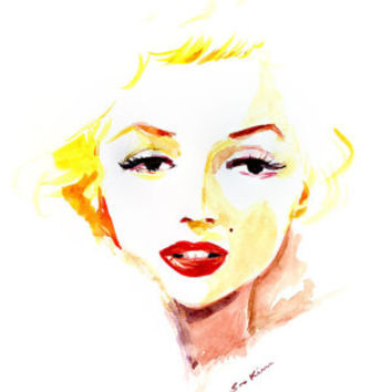Marilyn Monroe - Watercolor Portrait Painting Art Print