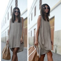 Pure Color V-neck Sleeveless Loose Short Tank Dress