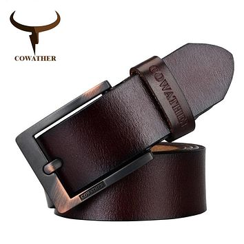 COWATHER 2017 belts for men high quality cow genuine leather vintage New designer pin buckle ceinture mens belts luxury XF003-4