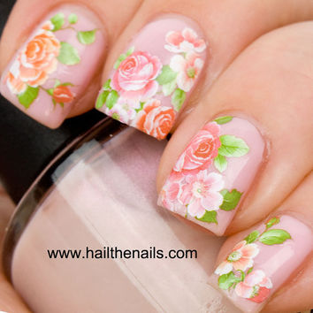 English Rose Nail Art Water Transfer Decal Pink & Peach