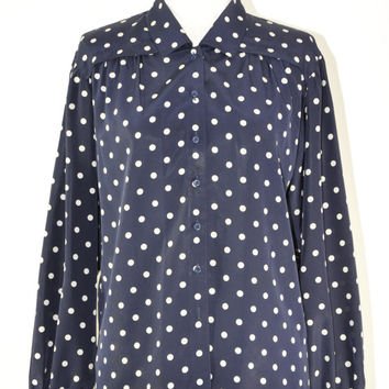 70s polka dot shirt / vintage navy blue chiffon top / 1970s silky button down shirt / White Polka blouse
