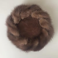1950's Pancake Hat ~ Fur Trimmed ~ Brown Velvet ~ Vintage 50's
