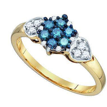 Blue Diamond Flower Ring in 10k Gold 0.36 ctw