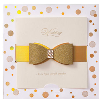50 pcs Set Bow Knot Wedding Invitations with Envelope & Seal