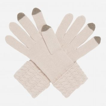 N.Peal Cable cashmere gloves