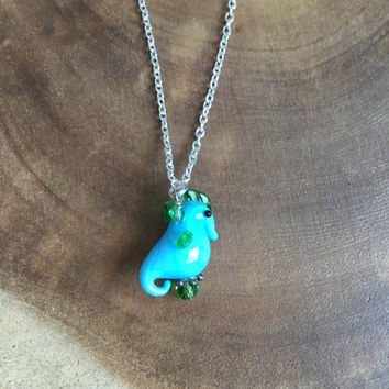 Blue Sea Horse Necklace, Summer Necklace, Lampwork Sea Horse Necklace, Beach Necklace, Glass Sea Horse Necklace, 16 Inch Necklace