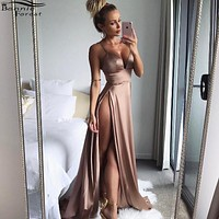 Bonnie Forest Sexy Summer Gold Club Wear Party Dress Long Evening Maxi Dress 2017 Spaghetti Strap Front side High Slit Dress