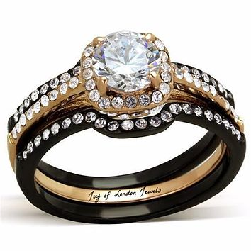 1.8CT Perfect Round Diamond Cut Halo Solitaire Rose Gold & Black Titanium Bridal Set Wedding Bands Ring