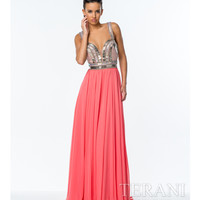 Terani 151P0030 Coral Embroidered Bodice Gown Prom 2015