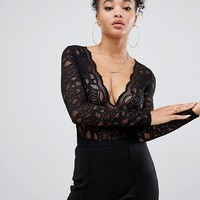 Boohoo plunge long sleeved lace bodysuit in black at asos.com