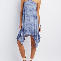 TIE-DYE HANDKERCHIEF HEM SHIFT DRESS
