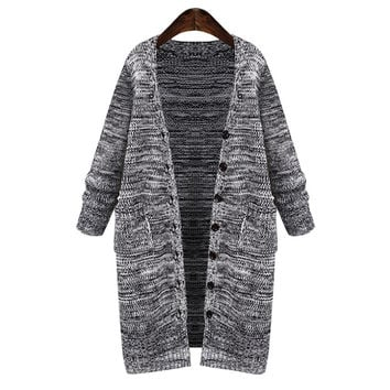 Women Plus Size Button Down Knitted Sweater Cardigan Outwear