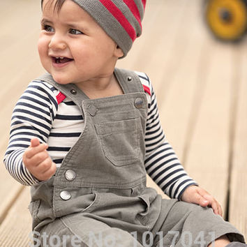 Hot autumn spring baby boy clothes cotton long sleeve stripe rompers + overalls + hat newborn baby clothing set
