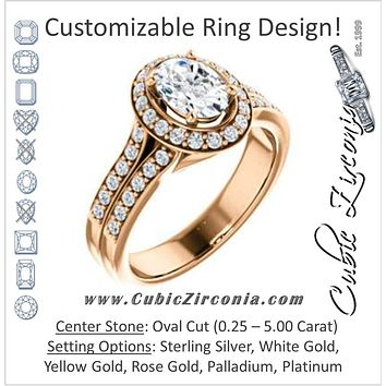 Cubic Zirconia Engagement Ring- The Ginny (Customizable Oval Cut Halo Style with Accented Split-Band)