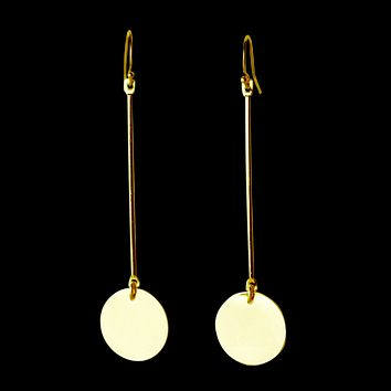 Donna Disk Drop Modernist Earrings