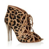 Alala Leopard-print calf hair ankle boots $250,distinguished shoes brand on-line shop, such as louboutins, Gianmarco Lorenzi, Alaia?Alexander McQueen.