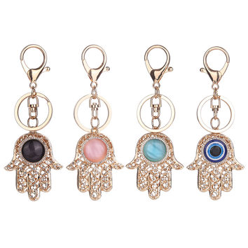 Lucky Charm Amulet Hamsa Fatima Hand Evil Eye Keychains Purse Bag Buckle Pendant For Car Keyrings key chains holder women DM#6