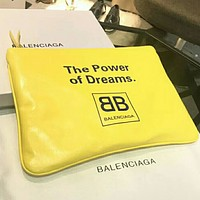 Balenciaga 2018 new B letter casual fashion zipper clutch F0440-1 Yellow