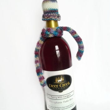 Wine Bottle Cozy, Wine Bottle Topper, Knit Hat & Scarf, Hand Dyed Yarn, Hand Knit, Blue, White, Purple, Pink, Kitchen Accessories