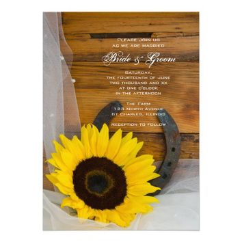 Sunflower and Horseshoe Country Wedding Invite from Zazzle.com