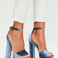 Missguided - Blue Velvet Platform Sandals