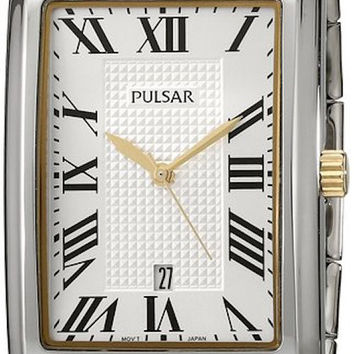 Pulsar PH9045 Men's Watch Rectangular Case With Two-Tone Stainless Steel Band