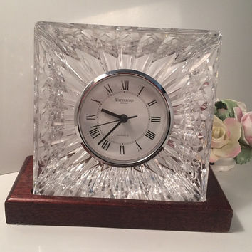Vintage Luxury Waterford Crystal Clock on Velvet Lined Wooden Stand 5 x 5 Beautiful Wedding Gift Mantle Table Desk Heavy Bright Marked