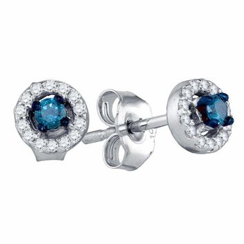 10kt White Gold Women's Round Blue Color Enhanced Diamond Stud Earrings 1-5 Cttw - FREE Shipping (US/CAN)