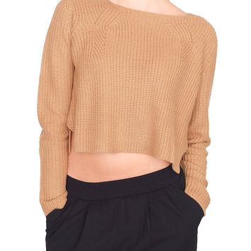 Take Me There Sweater Crop Top - Brown