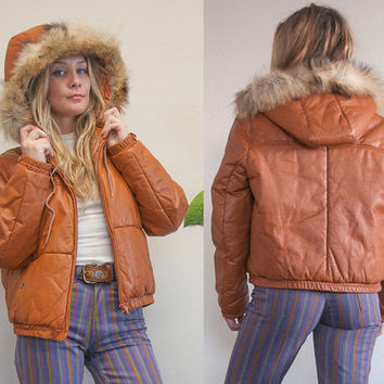 70s Brown Leather Fur Hooded Bomber Jacket | Womens Teen Kids Vintage Wilsons Leather Fur Trim Genuine Leather Winter Puffy Coat Jacket XS