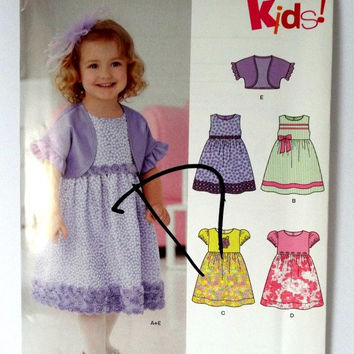 Toddler Girls Party Dress Cropped Jacket Sewing Pattern 1 2 3 4 New Look Simplicity 6254 New Uncut