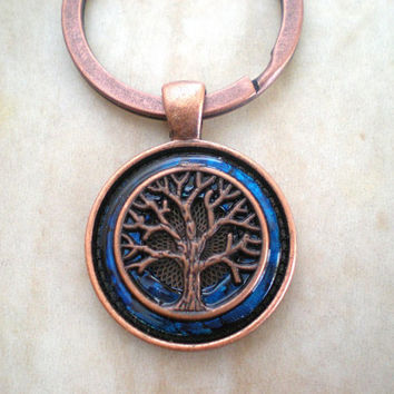 Tree of Life Keychain - Blue - Men's Key Ring - Men's Keychain - Tree Keychain - Celtic Keychain - Wiccan Keychain - Father's Day