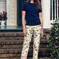 Women's Fit 2 Digital Floral Print Chino Crop Pants from Lands' End