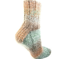 Mens Small,Boot Socks, Hiking Socks, Camping Socks, Striped Socks,Fashion Accessories, Unisex, Rust  Pale Green, Ladies Shoe Size