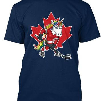 Canada Hockey Player Unicorn Winter