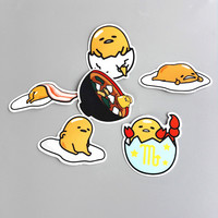 6Pcs/Lot Novelty Gudetama Lazy Egg Cartoon Funny Sticker For Car Laptop Bicycle Luggage Waterproof Decal Stickers