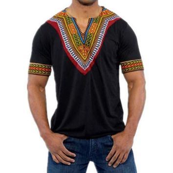 Africa Clothing Dashiki V-neck T Shirt National Traditional Printing Maxi tshirt African Dashiki Hiphop Short-sleeved Tshirt Men