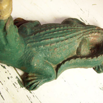 Antique c 1930s Cast Iron Alligator Water Sprinkler Lawn Ornament