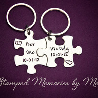 Her One, His Only WITH DATE- The Original - Hand Stamped Puzzle Piece Keychain Set - Couple Key Chain - Wedding, Anniversary Gift for Her