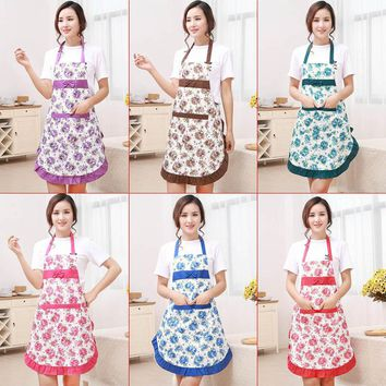 New Printed Apron with Pockets Waterproof Floral Bib Kitchen Soil Release  Bowknot Home Textiles Breech Cloth TB Sale