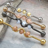 Beaded 14g Industrial Barbell
