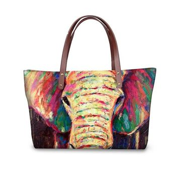 Colorful Elephant Tote