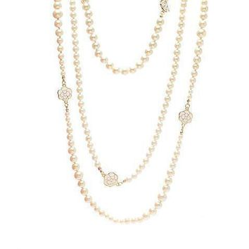 Chanel Woman Fashion Logo Pearls Necklace For Best Gift-17