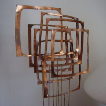 Mid Century Modern Sculpture Signed Abstract Geometric