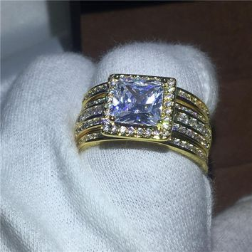 3-in-1 Princess cut Clear 5A zircon Cz Yellow gold filled 925 silver Engagement Wedding Band Ring