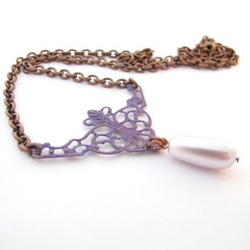 Hand Painted Filigree Necklace, Purple Patina, Pink Teardrop
