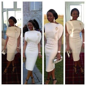 African Short White Cocktail Dress Sheath Women Sexy Party Dress with Ruffles 2017 New Tea Length Evening Party Dress Gowns