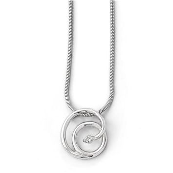 13mm Double Circle Diamond & Rhodium Plated Silver Adjustable Necklace
